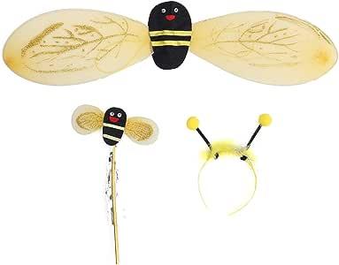 Yellow BESTOYARD 3pcs Kids Bee Cosplay Costume with Wings Headband Wand for Kids Children Boys Girls School Stage Performance