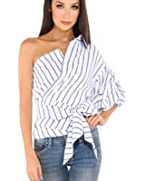 2017 New Summer Women Striped Shirt ONEMORES(TM) Slim Top Shirt One Shoulder Half Puff Sleeve T Shirts