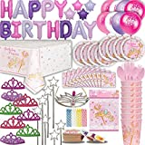 Princess Birthday Party for 16. 100+ Items: Plates, Cups, Cutlery, Napkins, Tablecover, Foil Balloon Birthday Banner, Princess Balloons, Tiaras, Wands, Royal Bday Girl Tiara , Bags, Candles, Tattoos