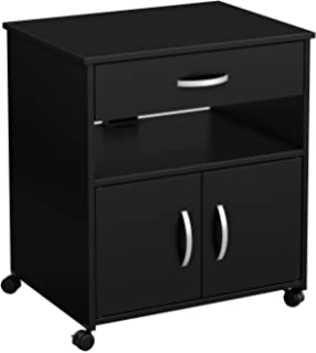 South Shore 9050691 2 Door Printer Stand Storage On Wheels, Pure Black, 19