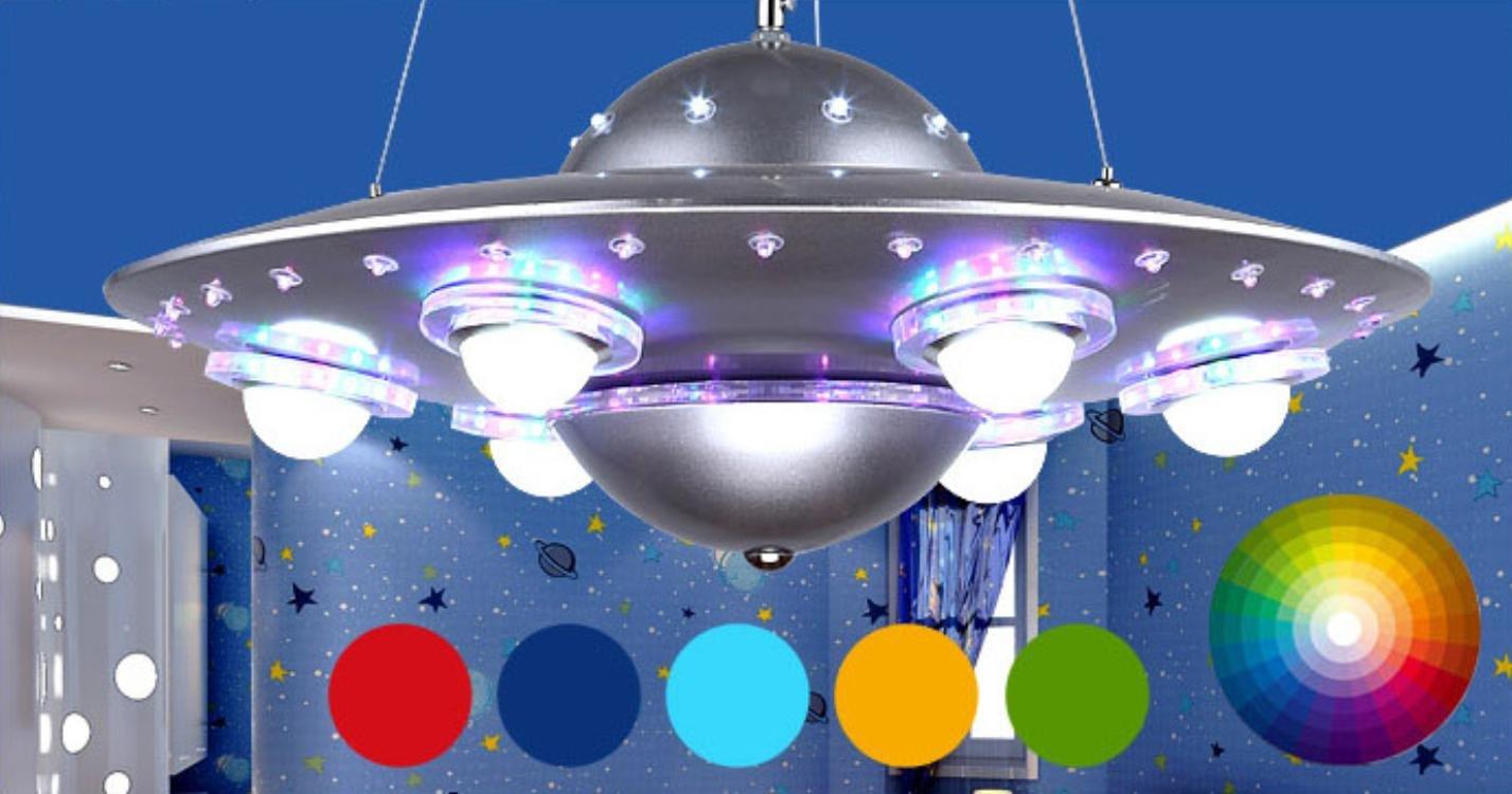 WXX Lampe-Schlafzimmer Kinder kreative Pendelleuchte Ufo Fliegende Untertasse LED das Wohnzimmer Studie Lampe silber