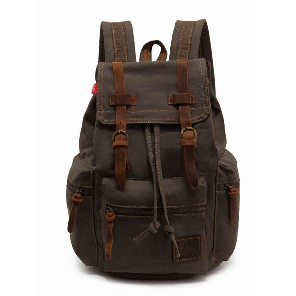 High Capacity Canvas Vintage Backpack - for School Hiking Travel 12-15'' Laptop