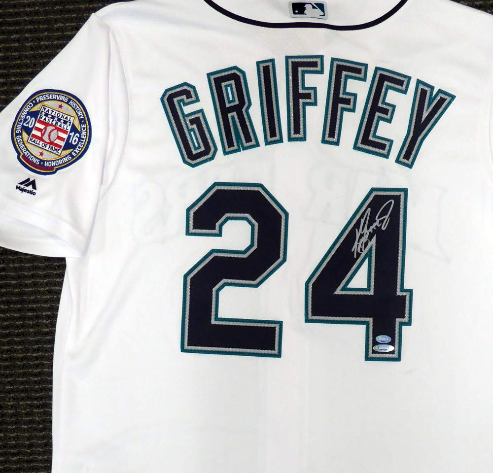 604cb5ba3 Seattle Mariners Ken Griffey Jr. Signed Auto White Majestic Cool Base Jersey  HOF Patch Size L Tristar   MCS Holo Stock  143286 at Amazon s Sports ...