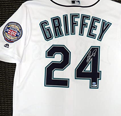 a78e91f2507 Image Unavailable. Image not available for. Color  Seattle Mariners Ken  Griffey Jr. Signed Auto White Majestic Cool Base Jersey ...