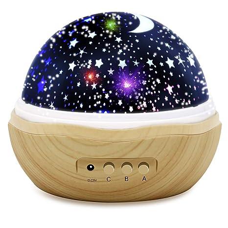 Luces de noche para niños, proyector de estrellas de madera de ...