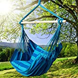 Prime Garden Seaside Stripe Soft Comfort Hanging Rope Hammock Chair for Any Indoor or Outdoor Spaces -- Max. 275 Lbs/Seaside Blue Stripe
