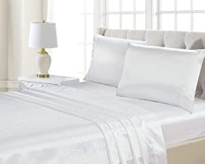 Home Collection 4pc Queen Size Satin Sheet Set Solid White Super Soft Touch Bridal New
