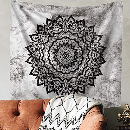 - Indusleaf Psychedelic Mandala Tapestry Wall Hanging - Bohemian Living Room Wall Decor for Women Girls, Black and White Boho Medallion Tapestry for Room