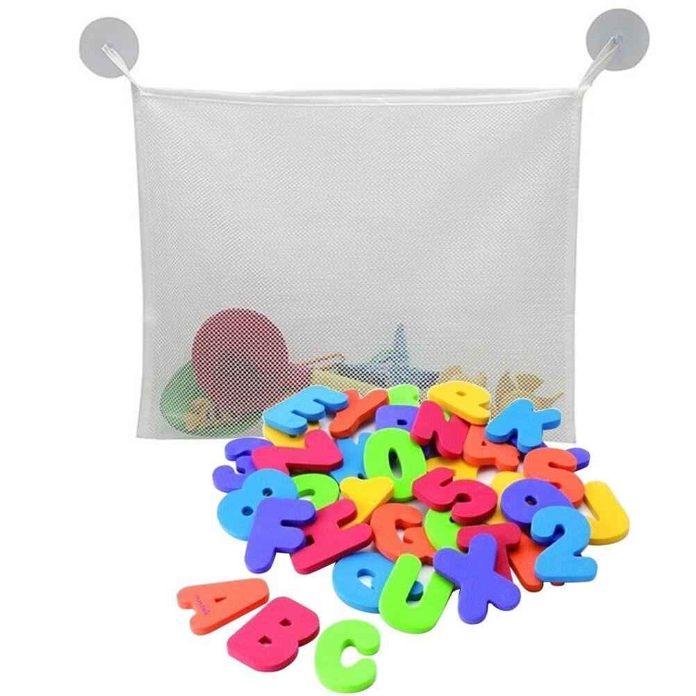 Welecom 36 pcs Alphabet Baby Bath Toy Foam Letters Numbers with 37CM Bath Toy Storage Organizer Bag Yingzhu-UK