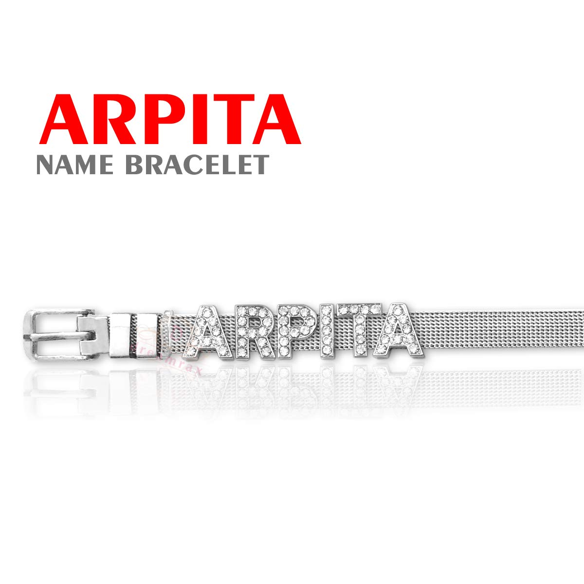a6b7572c85d83 Dreamrax Arpita Name Diamond Silver Bracelet: Amazon.in: Jewellery