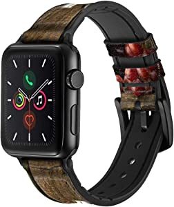CA0162 Grapes Bottle and Glass of Red Wine Leather & Silicone Smart Watch Band Strap for Apple Watch iWatch Size 38mm/40mm