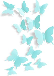 Cute Blue Butterfly Wall Decor 24 pcs, Girls Room Wall Decals, Teal Aesthetic Butterflies Stickers for Nursery Decorations, Baby Toddler Room Decor for Girls