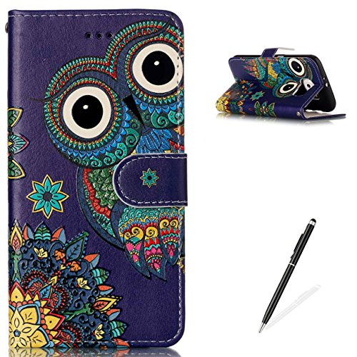 (MAGQI Samsung Galaxy S6 Premium PU Leather Stand Wallet Case, Flip Book Style Shell Cute Animal Cartoon Painting with [Free 2 in 1 Stylus] Full Body Protective Cover - Owl)