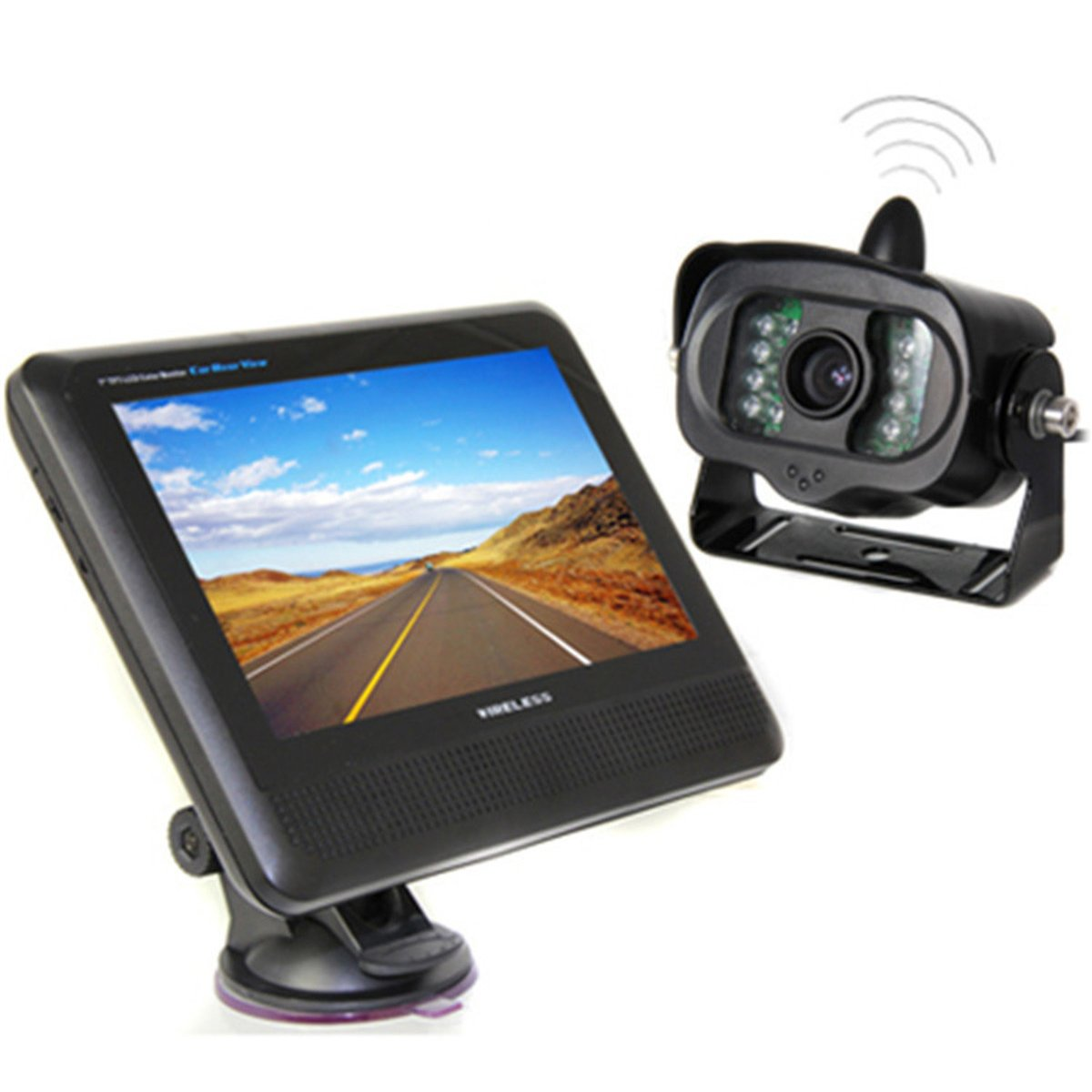 Waterproof 7'' LCD Reversing Camera Suction Cup Screen Display with Night Vision Wireless Infrared Rearview Camera Set