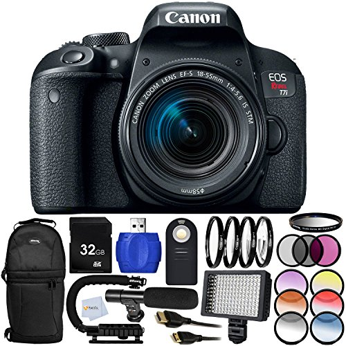 Canon EOS Rebel T7i DSLR Camera + Canon EF-S 18-55mm f/4-5.6 is STM - International Version (No Warranty) Includes 3PC Filter Kit (UV, CPL, FLD) + Wireless Shutter Release Remote & More!