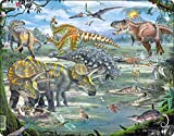 Larsen Puzzles Dinosaurs Educational Jigsaw Puzzle - 65 Piece Tray & Frame Style Puzzle - Exclusive Premium Hand Made Puzzles - Imported from Norway