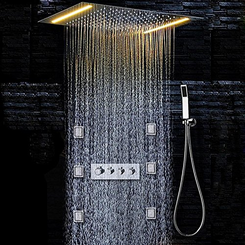 Gowe Concealed Thermostatic message Shower Set Bathroom Mixer Faucet Bath Tap SUS304 Ceiling Shower Head Yellow lamp led shower 1