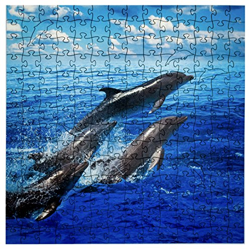 Mosaic Puzzles Wooden Jigsaw Puzzle - Dolphins Jumping - 204 Unique Pieces Challenge Any Puzzle Lover from Ages 8 to 98 - Made in The USA by Zen Art & Design