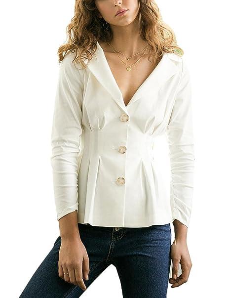 Mujer Ligera Chaqueta Color Sólido Mangas Largas Blazer Moda Casuales Abrigos Blanco L