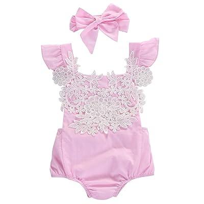 Aliven Newborn Infant Baby Girl Lace Floral Bodysuit Romper Headband Outfit Set Sunsuit