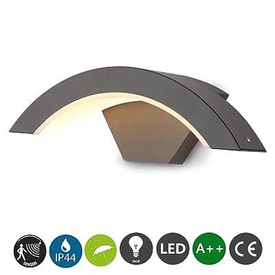 AIKE Moderne capteur LED applique murale d'extérieur en fonte d'aluminium lampe murale Détecteur de mouvement réglable max. 9m gamme lampe de mur extérieur jardin couloir lumière blanche cha
