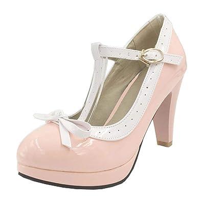Damen T Strap High Heels Pumps Plateau mit Schleife Lolita Cosplay  Rockabilly Schuhe c7cf5d368e