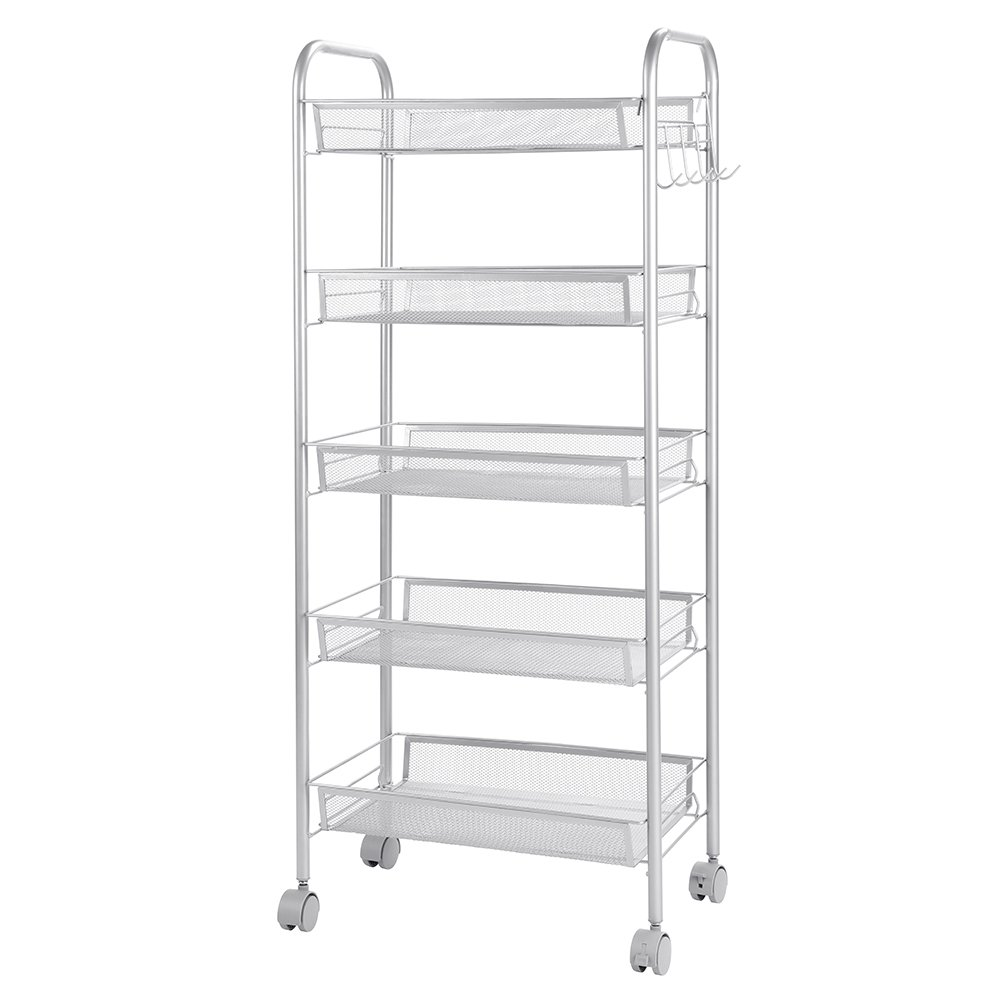 5-Tier Wire Mental Mesh Shelves, Cozzine Utility Rolling Cart Trolley with Lockable Wheels, Storage Organizer Easy Moving Cart Shelving Units for Kitchen Bathroom Food Storage (17.32