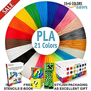 3D Pen Filament Refills - Premium Set of 21 Colors 689ft Bonus 200 Stencils EBook including 6 Glow in the Dark - Best 1.75mm PLA Filament Pack for 3D Pens by i3DPen Store