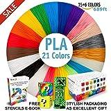 3D Pen Filament Refills - Premium Set of 21 Colors 689ft Bonus 200 Stencils EBook including 6 Glow in the Dark - Best 1.75mm PLA Filament Pack for 3D Pens