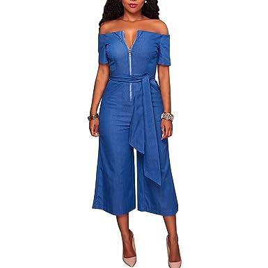 Amazoncom Wordbuy Womens Strapless Wide Leg Zip Up Denim Belted