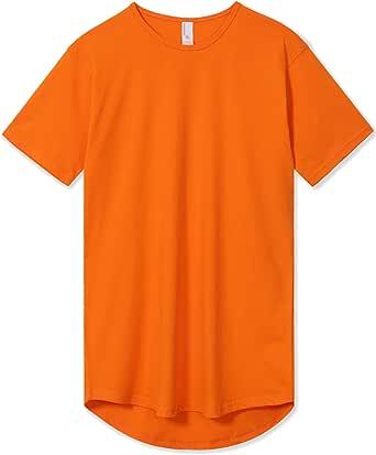 Men's Hipster Drop Cut Curved Hem Long Line T-Shirts Back Tail