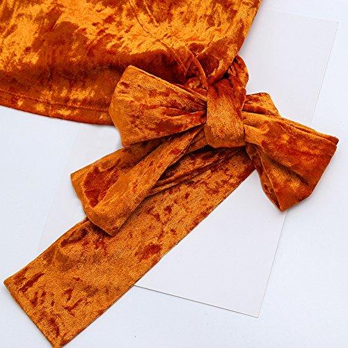 Cuello En Manga Cárdigan Color Chaqueta Larga Outwear V Mujeres Irregular Casual Sólido Corto Naranja wx14qSnXT