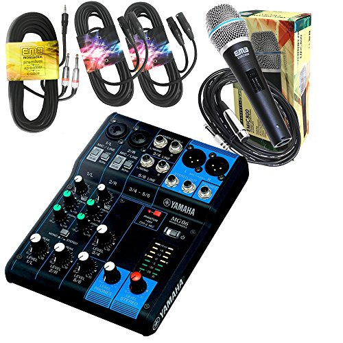 Yamaha Package Bundle - Yamaha MG06 6-Channel Mixer + EMB Emic800 Microphone + 2 XLR XLarge Cables + 3.5mm to Dual 1/4