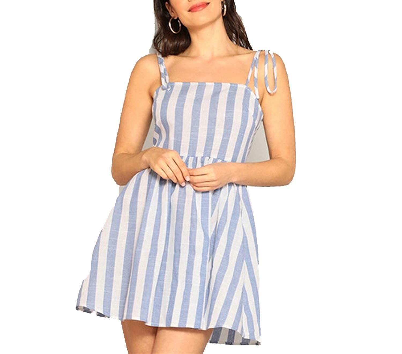 bluee Boho Straps Self Tie Shoulder Fit and Flare Striped Summer Cami Dress Empire Beach Elegant Dresses
