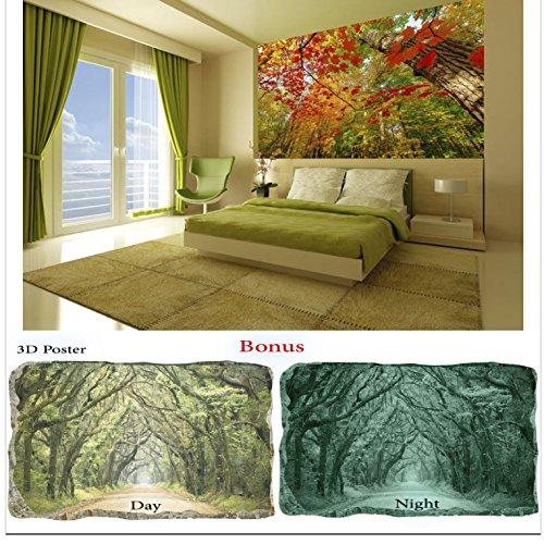 Wallpaper Startonight Wall Mural Beautiful Red Leaves in Nature Bundle Bonus Gift 3D Poster Green Trees (8 feet 4 inch By 12 feet/366 x 256 (Bar 366 Halloween)