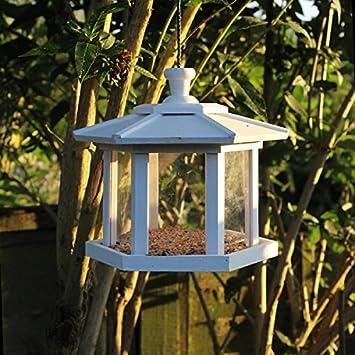 Garden Mile White Shabby Chic Wooden Hexagonal Hanging Bird Feeder Garden Decoration Bird Table Seed Nut Suet Garden Bird Feeders Bird Feeder