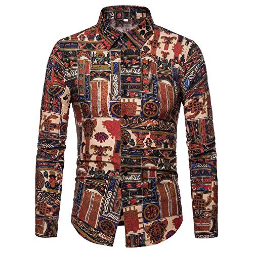 Shirts with Button-Down Collar Standard-Fit Long-Sleeve Autumn Winter Patchwork Fastener Sweatshirts Top Blouse Men (L,6- Khaki) -