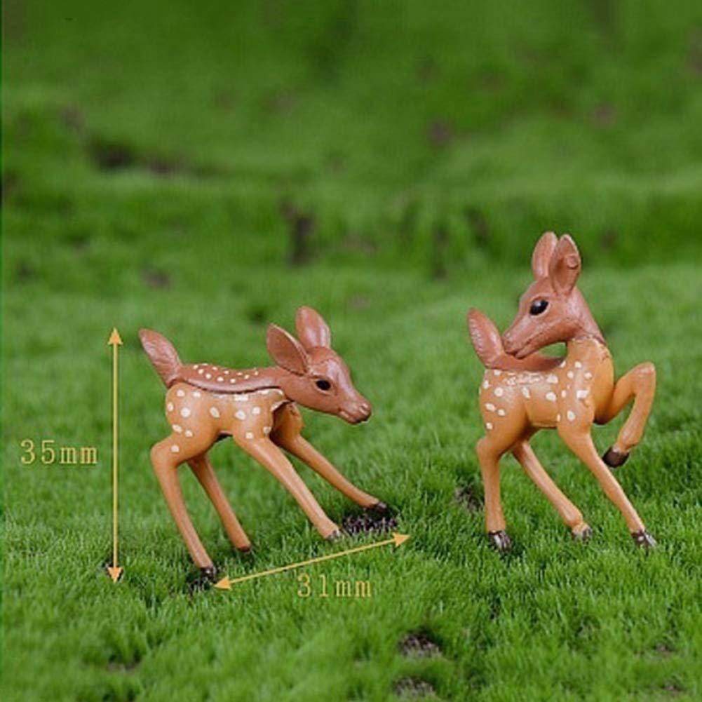 happyhouse009 2Pcs Lovely Couple Deer Miniature Ornament Accessories Landscape Bonsai Resin Ornament for DIY Fairy Garden Dollhouse Decoration