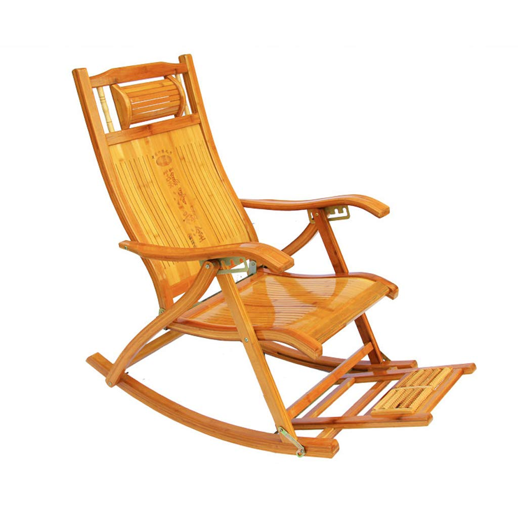 Folding Lunch Break Lounge Chair Bamboo Recliner Old Man Nap Chair
