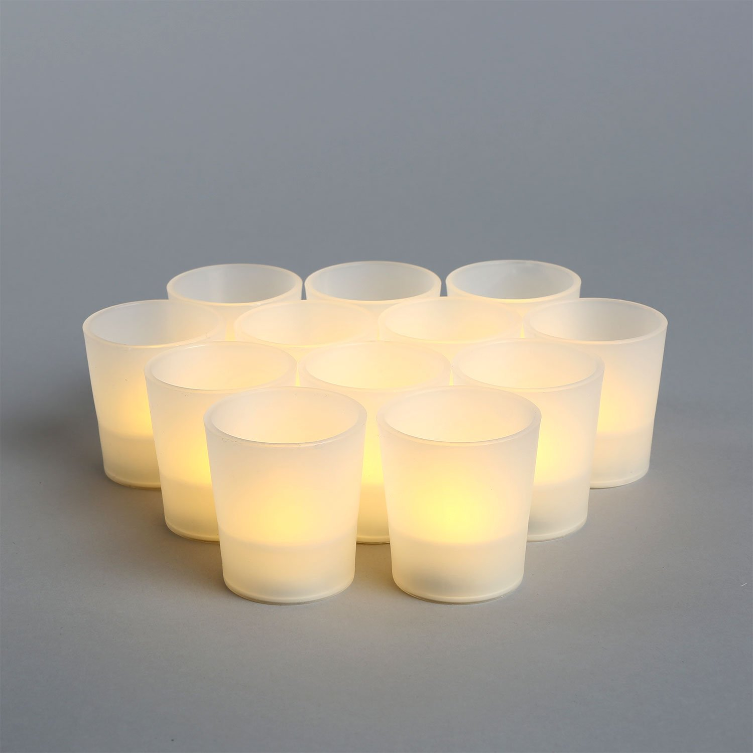 Flameless Tea Lights with Frosted Resin Holders, Set of 12, Warm White LEDs, Indoor/Outdoor Use, Batteries Included