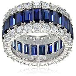 Crislu Blue and Clear Cubic Zirconia Triple Row Baguette Eternity Ring