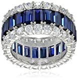Image of Crislu Blue and Clear Cubic Zirconia Triple Row Baguette Eternity Ring
