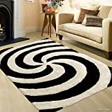 Cheap Allstar 8 X 11 Black White Shaggy with 3D Spiral Contemporary Hand Made Area Rug (7′ 6″ X 10′ 5″)