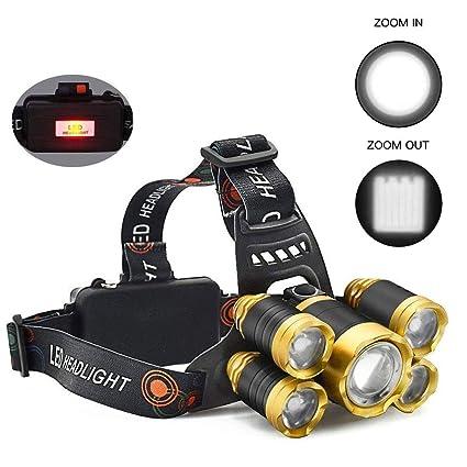 Headlamp, 8000 Lumens Rechageable Zoomable Headlight, Waterproof Flashlight