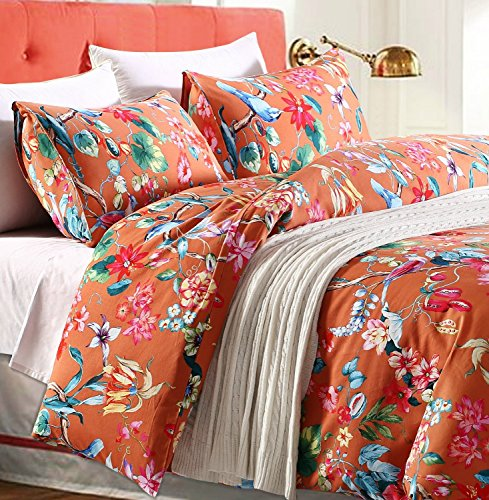 Tropical Garden Luxury 2 Piece Duvet Cover Set Island Tree Branch and Birds Multicolored Floral Pattern 100-percent brushed Cotton Twill (Twin) (Cotton Twill Cover)