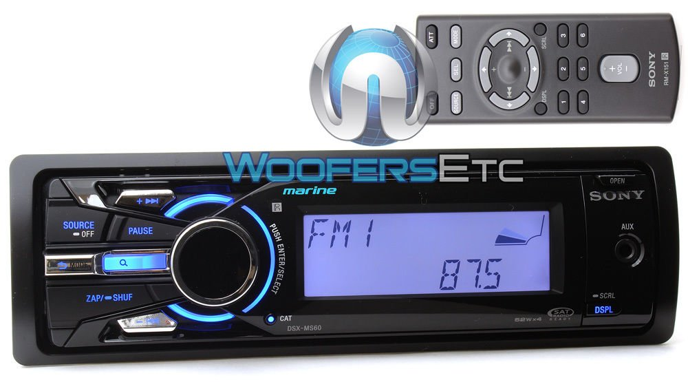 DSX-MS60 - Sony 1-DIN Marine Digital Media Receiver with Internal USB and Front AUX