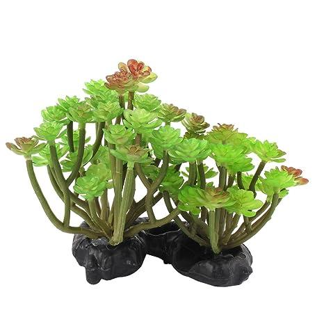 sourcing map Tanque para Peces de Acuario plástico Ornamento vegetal Sedum césped verde decoración viva