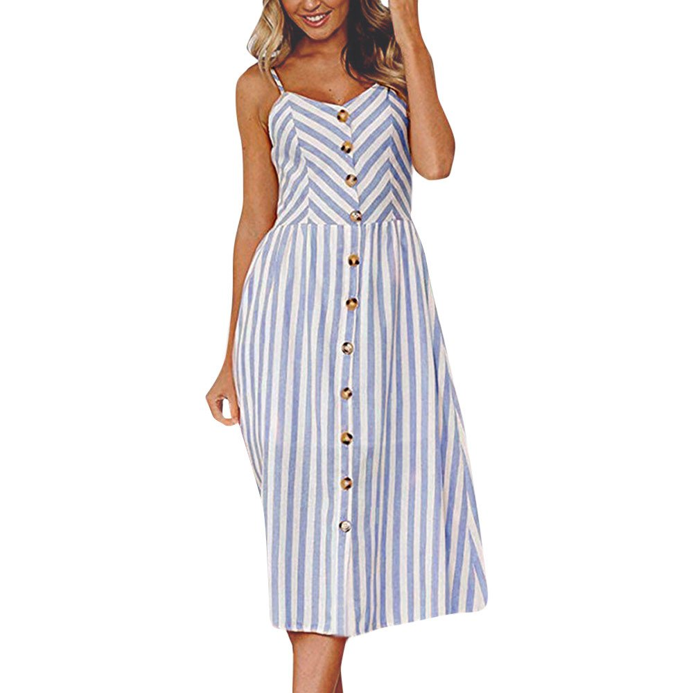 ❤Women's V Neck Maxi Dresses, Ladies Sleeveless Button Casual Loose Striped Sundress Beach Dress by Cobcob Dress Clearance Sale!