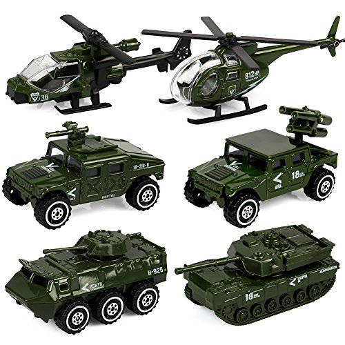 Tacobear 6PCS Army Vehicle Toy Set Original Color Die-cast Metal Military Vehicles Play set Helicopter Tank Truck Jeep Armored Car for Kids