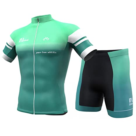 5c939adee Image Unavailable. Image not available for. Color  INBIKE Men Cycling  Jersey Set Short Sleeve Breathable Bike Shirt with Padded Shorts ...